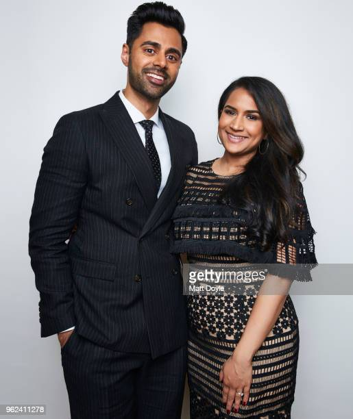 Host and comedian Hasan Minhaj and wife Beena Patel Minhaj pose for a portrait at The 77th Annual Peabody Awards Ceremony on May 19 2018 in New York...