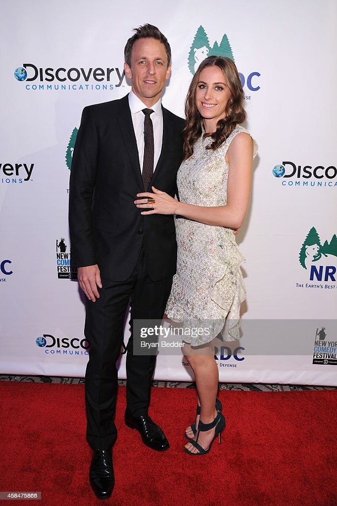 TV Host and Comedian Seth Meyers (L) and Alexi Ashe Meyers attend NRDC's 'Night Of Comedy' benefiting the Natural Resources Defense Council at 583 Park Ave on November 5, 2014 in New York City.