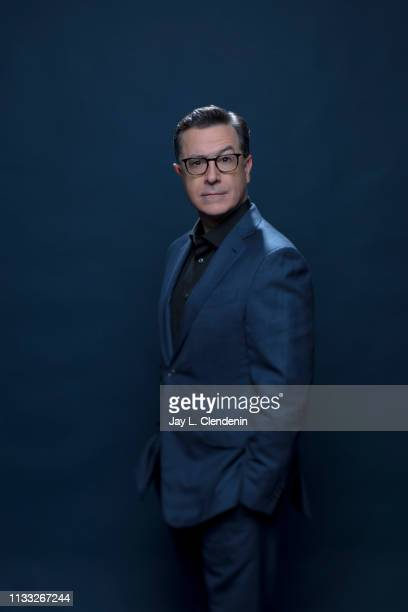 Host and comedian Stephen Colbert is photographed for Los Angeles Times on March 16, 2019 during PaleyFest, at the Dolby Theatre in Hollywood,...