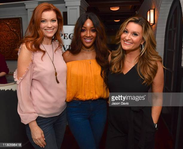 TV Host and Correspondent Alecia Davis Singer Songwriter Mickey Guyton and Personality Kelly Sutton attend the 'Breakthrough' VIP Reception with...
