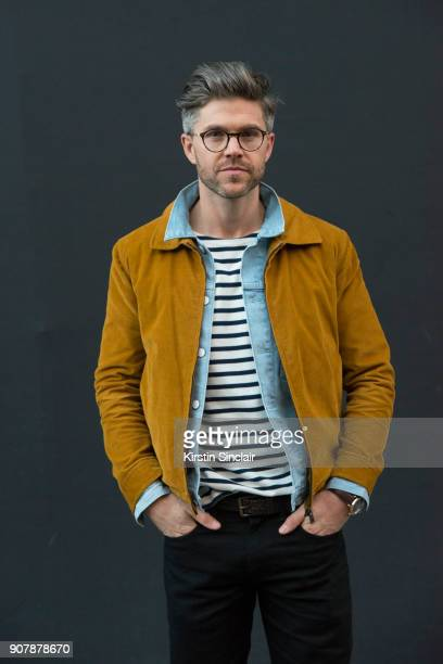 TV host and creative director Darren Kennedy wears Levi's jeans and denim jacket Richard James Corduroy jacket Specsavers glasses and a Masion La...