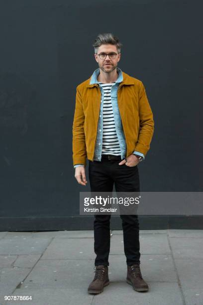 TV host and creative director Darren Kennedy wears Marks and Spencer shoes Levi's jeans and denim jacket Richard James Corduroy jacket Specsavers...