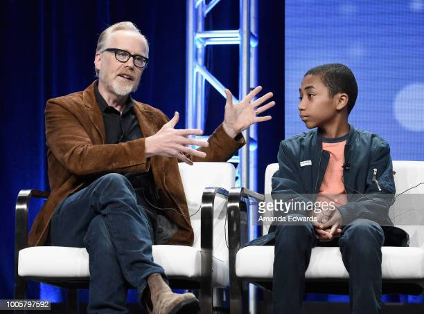 Host and executive producer Adam Savage and Cannan HueyYou of 'MythBusters Jr' speak onstage during the Discovery Channel/Science Channel portion of...