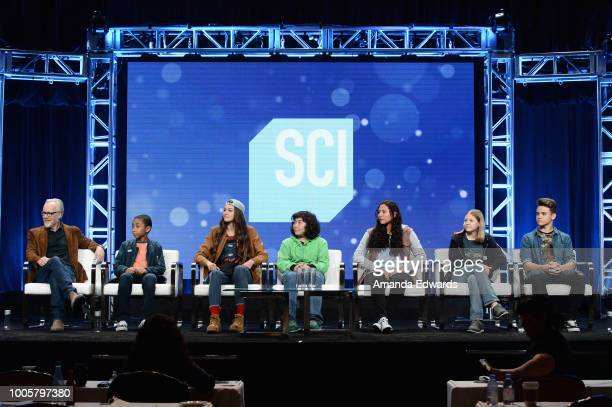 Host and executive producer Adam Savage cast members Cannan HueyYou Rachel Pizzolato Elijah Horland Valerie Castillo Allie Weber and Jesse Lawless of...