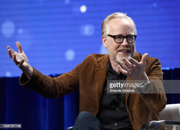 Host and executive producer Adam Savage of 'MythBusters Jr' speaks onstage during the Discovery Channel/Science Channel portion of the Discovery...