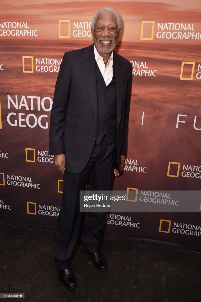 Host and Executive Producer Morgan Freeman of 'The Story of God With Morgan Freeman: Season 3' attends National Geographic's FURTHER Front immersive experience where the network took over a SoHo townhouse to unveil their upfront 2018-2019 slate on April 18, 2018 in New York City.