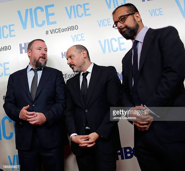 Host and executive producer Shane Smith executive producer Eddy Moretti and Suroosh Alvi attend the Vice New York Premiere at Time Warner Center on...