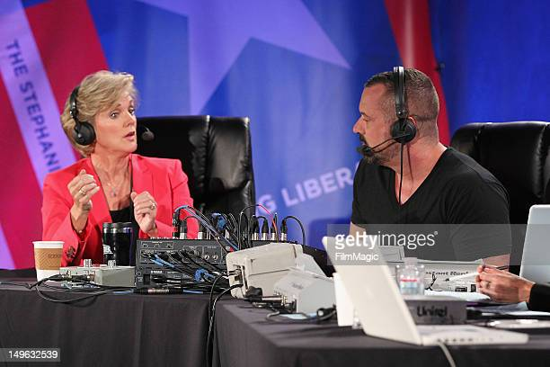 Host and former Michigan Governor Jennifer Granholm and producer Chris Lavoie speak during the Current TV TCA Breakfast at The Beverly Hilton Hotel...