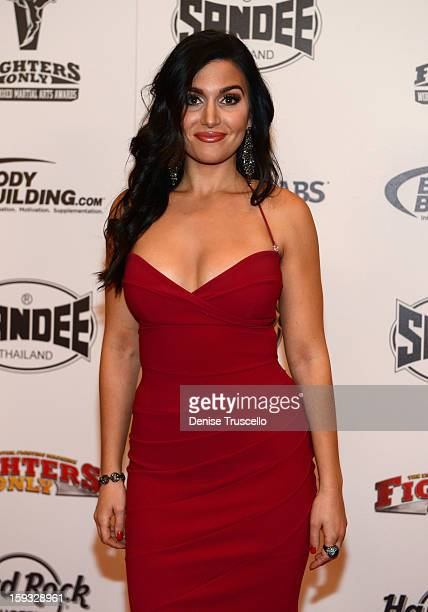 Host and journalist Molly Qerim arrives at the Fighters Only World Mixed Martial Arts Awards 2013 at the Hard Rock Hotel Casino on January 11 2013 in...