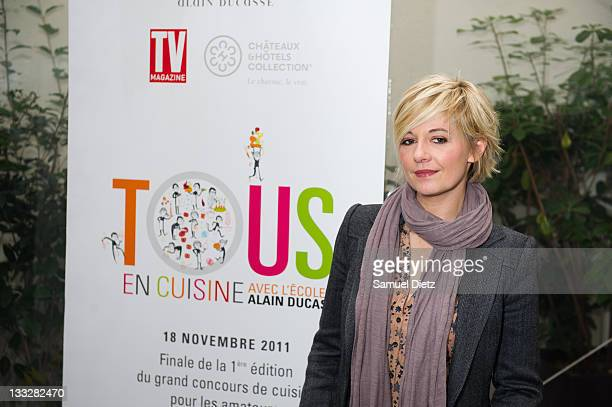 TV host and member of the jury Flavie Flament attends the final of Chef Alain Ducasse 'Tous En Cuisine' cooking contest on November 18 2011 in Paris...