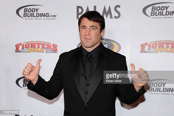 Host and mixed martial artist Chael Sonnen arrives at the Fighters Only World Mixed Martial Arts Awards 2011 at the Palms Casino Resort November 30...