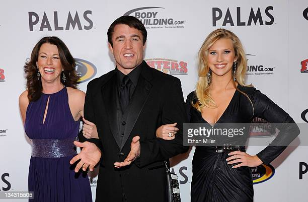 Host and mixed martial artist Chael Sonnen arrives with Regan Molatore and Brittany Smith at the Fighters Only World Mixed Martial Arts Awards 2011...