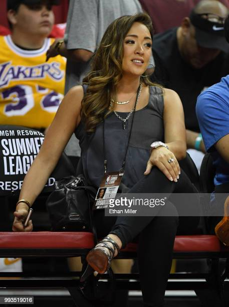 ESPN host and reporter Cassidy Hubbarth watches a 2018 NBA Summer League game between the Phoenix Suns and the Dallas Mavericks at the Thomas Mack...