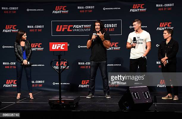 UFC host and reporter Megan Olivi Elias Theodorou Stephen Thompson and Joseph Benavidez interact with fans during a QA session before the the UFC...