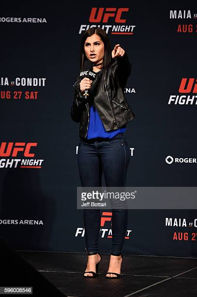 UFC host and reporter Megan Olivi interacts with fans during a QA session before the the UFC Fight Night Weighin at Rogers Arena on August 26 2016 in...