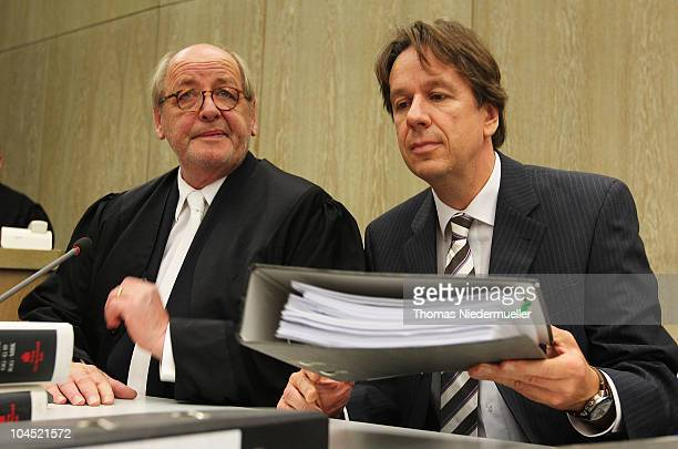 TV host and weather expert Joerg Kachelmann and his lawyer Reinhard Birkenstock are seen in the court on day five of the trial against TV host and...