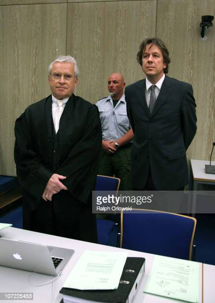 TV host and weather expert Joerg Kachelmann and his new lawyer Johann Schwenn wait for the beginning of day sixteen of the trial against Kachelmann...