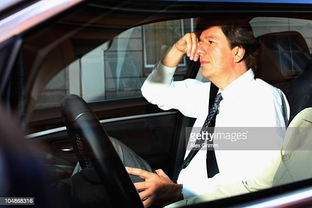 TV host and weather expert Joerg Kachelmann arrives at the court on day seven of his trial on October 6 2010 in Mannheim Germany Swiss citizen Joerg...