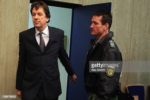 TV host and weather expert Joerg Kachelmann arrives for day 25 of his trial on February 1 2011 in Mannheim Germany Swiss citizen Joerg Kachelmann is...