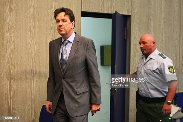 TV host and weather expert Joerg Kachelmann arrives for day 38 of his trial on May 2 2011 in Mannheim Germany Swiss citizen Joerg Kachelmann is...