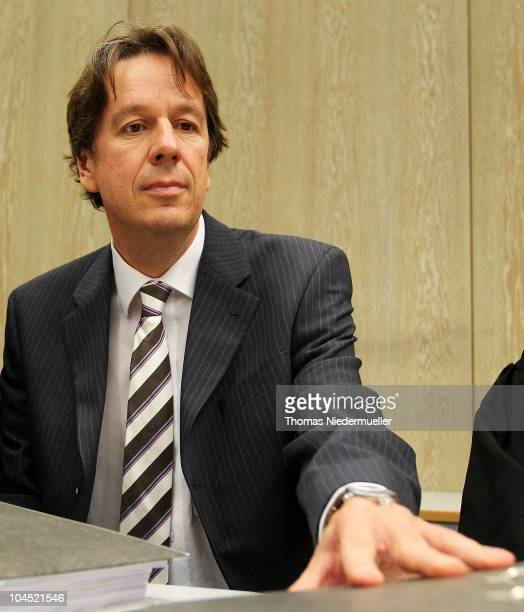 TV host and weather expert Joerg Kachelmann is seen in the court on day five of the trial against TV host and weather expert Joerg Kachelmann on...