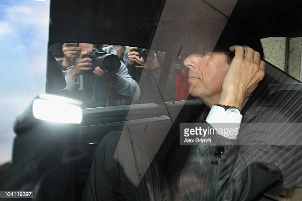 TV host and weather expert Joerg Kachelmann leaves the garage of the building on day three of his trial at the district court Mannheim on September...