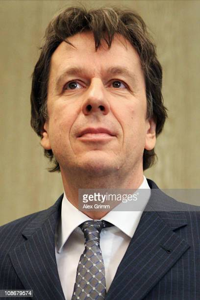 TV host and weather expert Joerg Kachelmann waits for the beginning of day 25 of his trial on February 1 2011 in Mannheim Germany Swiss citizen Joerg...