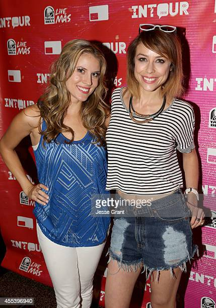 Host Andrea Feczko and TV personality Shira Lazar attend Fullscreens INTOUR at Pasadena Convention Center on September 13 2014 in Pasadena California