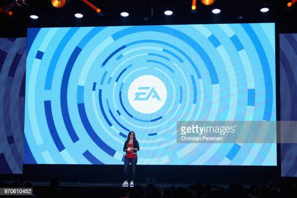 Host Andrea Rene speaks onstage during the Electronic Arts EA Play event at the Hollywood Palladium on June 9 2018 in Los Angeles California The E3...