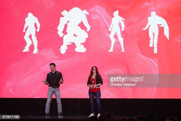 Host Andrea Rene speaks with Casey Hudson about 'Anthem' during the Electronic Arts EA Play event at the Hollywood Palladium on June 9 2018 in Los...