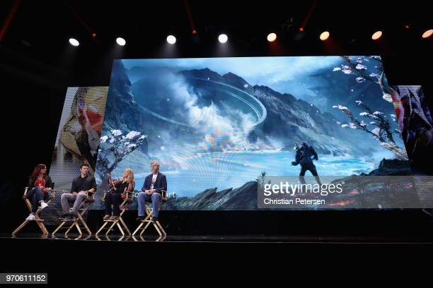 Host Andrea Rene speaks with Casey Hudson Cathleen Rootsaert and Mark Darrah about 'Anthem' during the Electronic Arts EA Play event at the Hollywood...