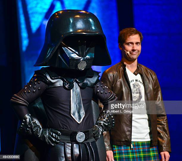 Host Andrew Bowen with Bernie Bregman as Dark Helmet from 'Spaceballs' on stage at the 3rd Annual Geekie Awards held at Club Nokia on October 15 2015...