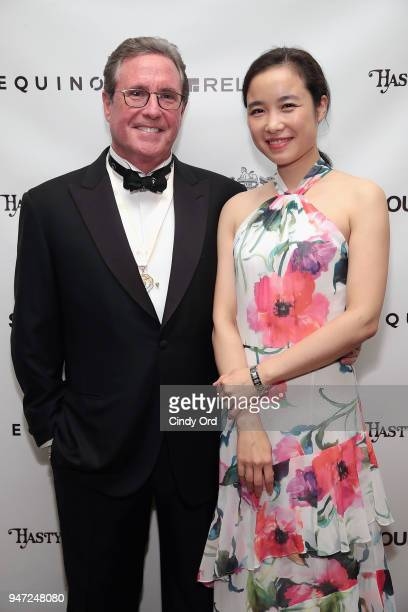 Host Andrew Farkas and guest attend as the Hasty Pudding Institute awards Derek McLane with the Order of the Golden Sphinx at The Pierre Hotel on...