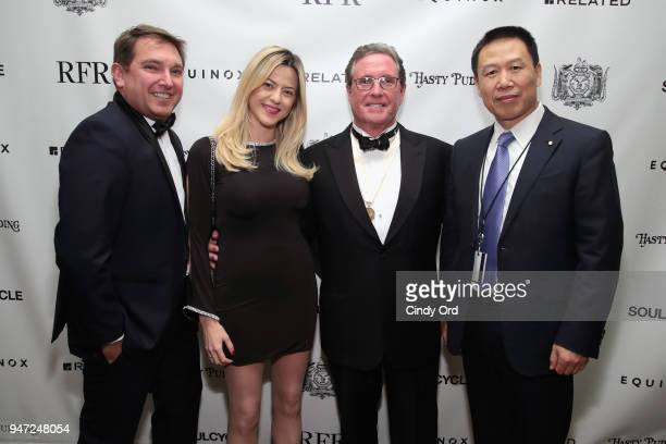 Host Andrew Farkas and guests attend as the Hasty Pudding Institute awards Derek McLane with the Order of the Golden Sphinx at The Pierre Hotel on...