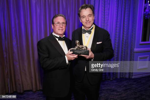 Host Andrew Farkas and honoree Derek McLane pose as the Hasty Pudding Institute awards Derek McLane with the Order of the Golden Sphinx at The Pierre...
