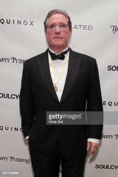 Host Andrew Farkas attends as the Hasty Pudding Institute awards Derek McLane with the Order of the Golden Sphinx at The Pierre Hotel on April 16...