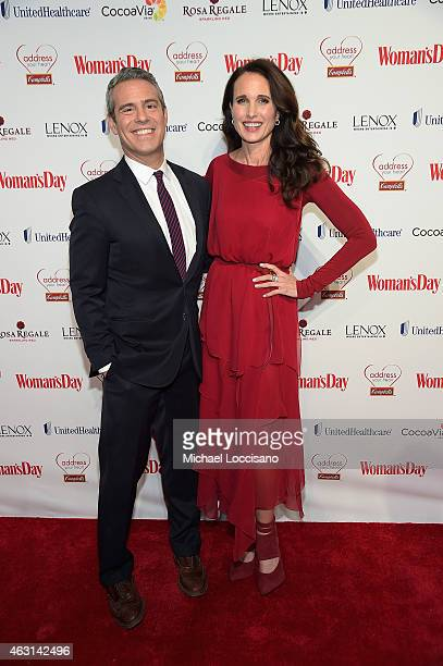 Host Andy Cohen and actress Andie MacDowell attends the Woman's Day Red Dress Awards on February 10 2015 in New York City