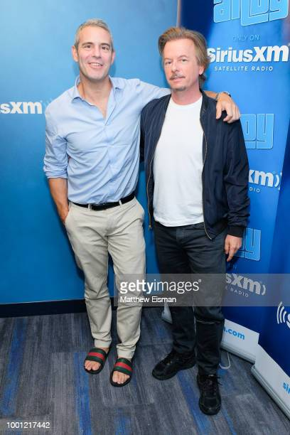 Host Andy Cohen and David Spade pose together for a photo during 'Radio Andy' at the SiriusXM Studios on July 18 2018 in New York City