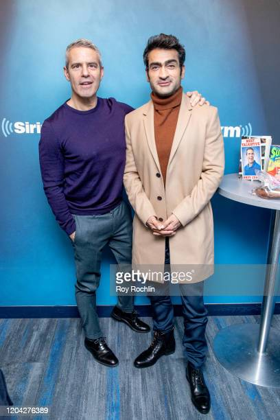 Host Andy Cohen with Kumail Nanjiani as he visits SiriusXM Studios on February 05 2020 in New York City