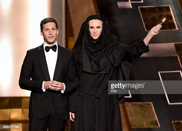 Host Andy Samberg and actress Jane Lynch onstage during the 67th Annual Primetime Emmy Awards at Microsoft Theater on September 20 2015 in Los...