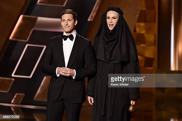 Host Andy Samberg and actress Jane Lynch speak onstage during the 67th Annual Primetime Emmy Awards at Microsoft Theater on September 20 2015 in Los...