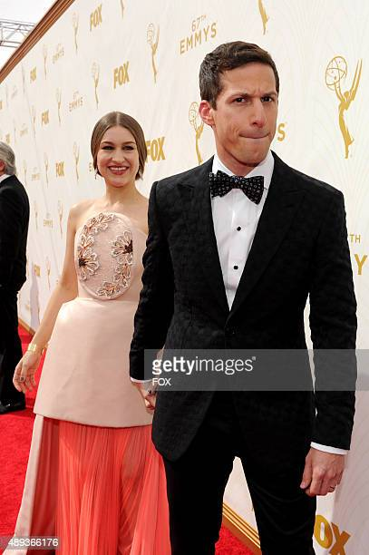Host Andy Samberg and Joanna Newsom attend the 67th Annual Primetime Emmy Awards at Microsoft Theater on September 20 2015 in Los Angeles California