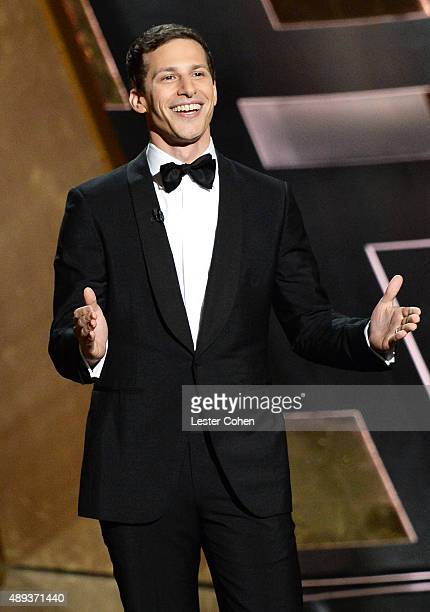 Host Andy Samberg speaks onstage during the 67th Annual Primetime Emmy Awards at Microsoft Theater on September 20, 2015 in Los Angeles, California.
