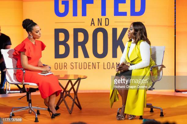 Host Angela Rye with panelist Jessica Brown during BET News presents an Angela Rye Special Young Gifted and Broke Our Student Loan Crisis at Howard...