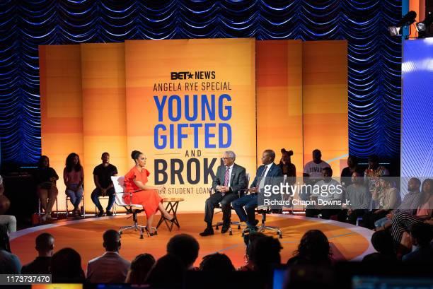 Host Angela Rye with panelist's Congressman Bobby Scott and Howard University President Dr Wayne Frederick during BET News presents an Angela Rye...