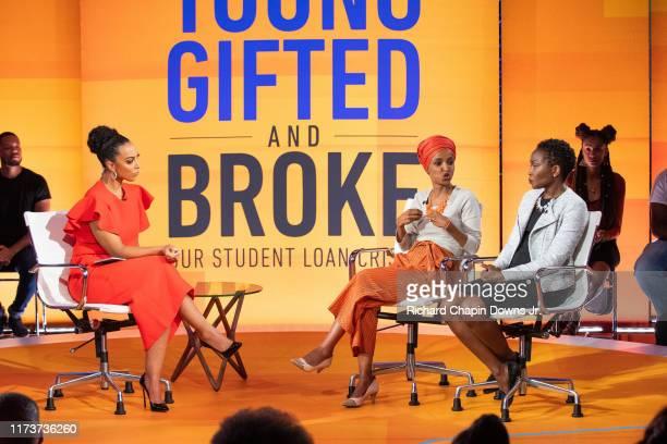 Host Angela Rye with panelist's Congresswoman Ilhan Omar and Washington Post Reporter Danielle DouglasGabriel during BET News presents an Angela Rye...