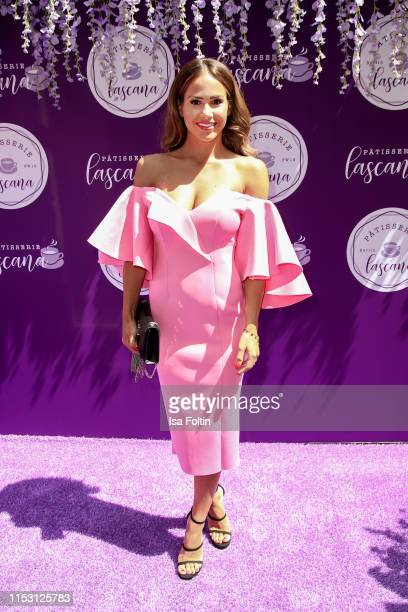 Host Angelina Heger attends the Lascana show at Titanic Hotel on July 1, 2019 in Berlin, Germany.