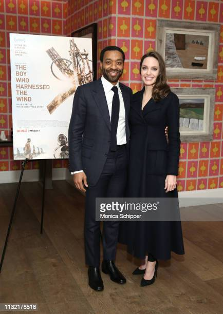 Host Angelina Jolie and director Chiwetel Ejiofor attend The Boy Who Harnessed The Wind Special Screening at Crosby Street Hotel on February 25 2019...