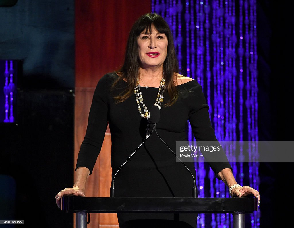 Host Anjelica Huston speaks onstage at PETA's 35th Anniversary Party at Hollywood Palladium on September 30, 2015 in Los Angeles, California.