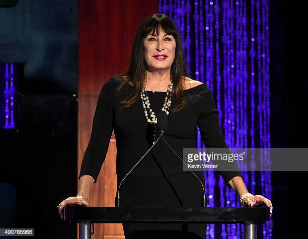 Host Anjelica Huston speaks onstage at PETA's 35th Anniversary Party at Hollywood Palladium on September 30 2015 in Los Angeles California